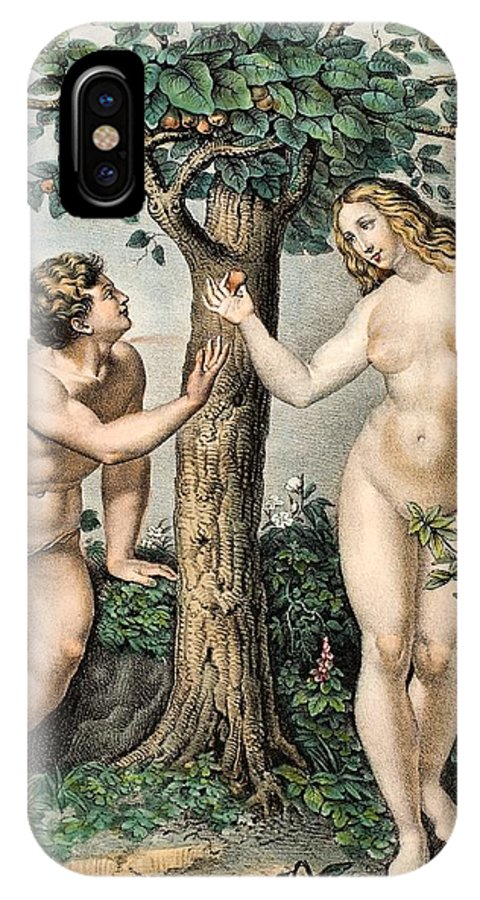 19th Century IPhone X / XS Case featuring the photograph 1863 Adam And Eve From Zoology Textbook by Paul D Stewart
