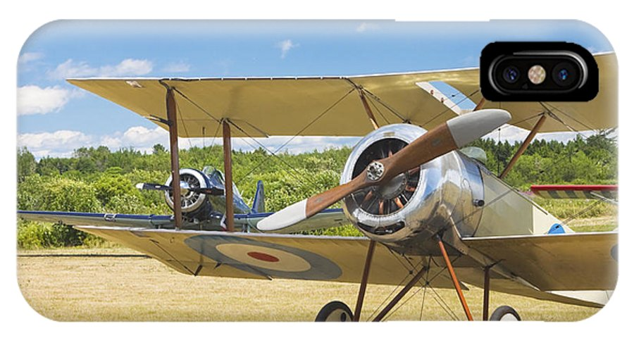 1916 Sopwith Pup Fighter; Biplane; Vintage; Plane; Aircraft; Airplane; Propeller; Transportation; Flight; Military; Old; Antique; Aviation; Wing; Historic; Engine; War; Transport; Technology; Veteran; Army; Airport; Force; Aeroplane; Oldies; Wings; Ww1; Nostalgic; Nostalgia; Glory; Oldtimer; Old-timer; Tail; Runway; History; Fuselage; Warplane; Dogfight; Combat; Struts; Classics; Planes; Radial; Fabric; Classic; Obsolete; Historical; Fields; Green; Airfield; Bi-plane; Old-fashioned; Wooden IPhone X Case featuring the photograph 1916 Sopwith Pup Biplane On Airfield Canvas Photo Poster Print by Keith Webber Jr