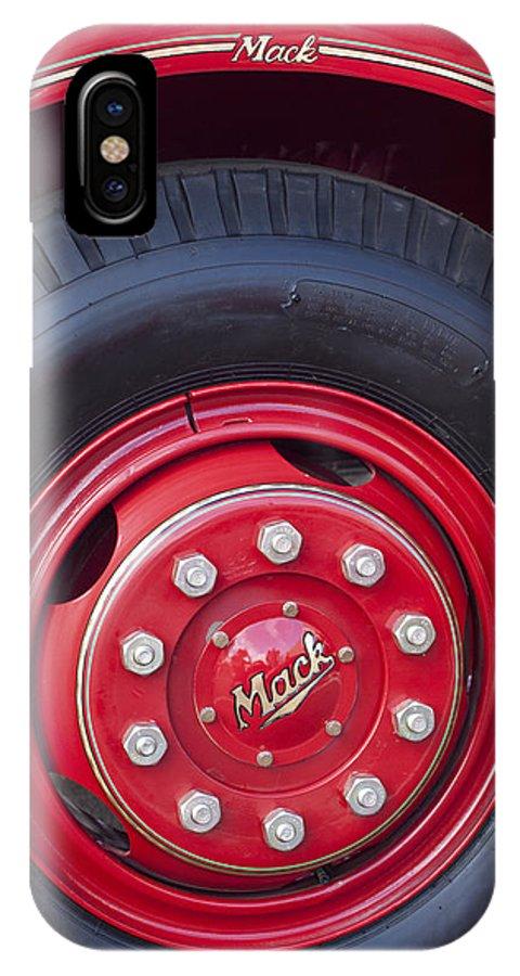 1952 L Model Mack Pumper Fire Truck IPhone X Case featuring the photograph 1952 L Model Mack Pumper Fire Truck Wheel 2 by Jill Reger