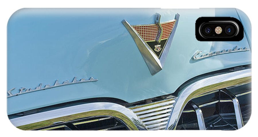 1952 Studebaker IPhone X Case featuring the photograph 1952 Studebaker Hood Emblem by Jill Reger
