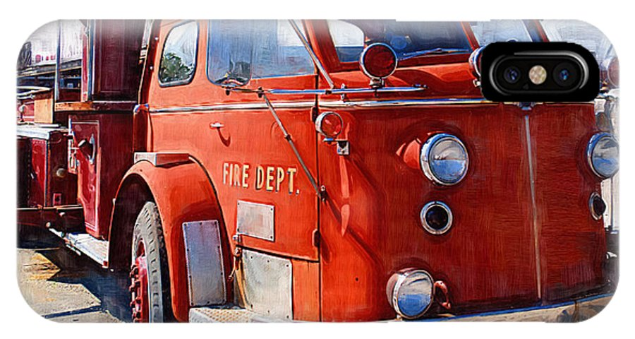 Classic IPhone X Case featuring the photograph 1954 American Lafrance Classic Fire Engine Truck by Kathy Clark