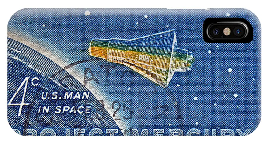 1962 IPhone X Case featuring the photograph 1962 Man In Space Stamp by Bill Owen