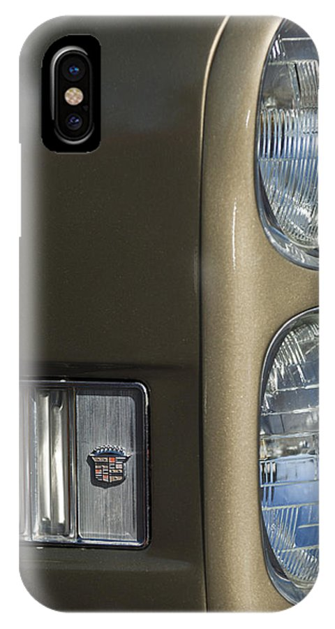 1966 Cadillac IPhone X / XS Case featuring the photograph 1966 Cadillac Emblem And Headlight by Jill Reger