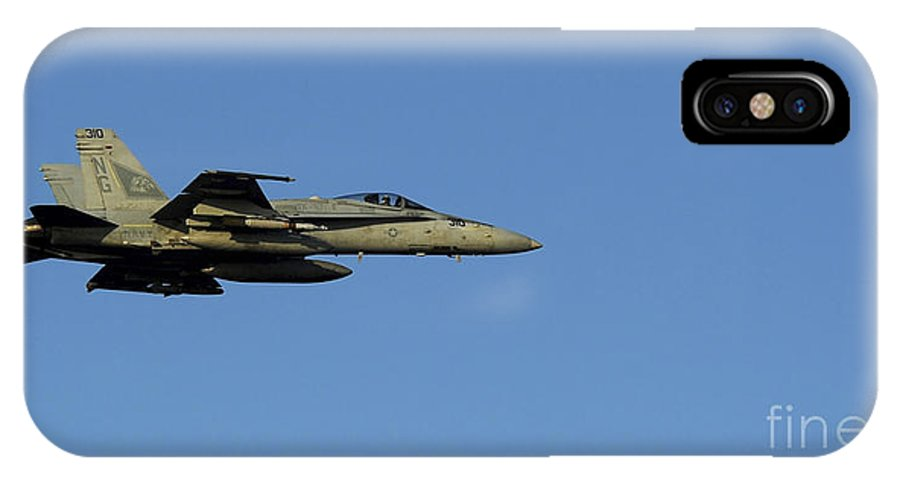 F-18 Hornet IPhone X Case featuring the photograph An Fa-18c Hornet In Flight by Stocktrek Images