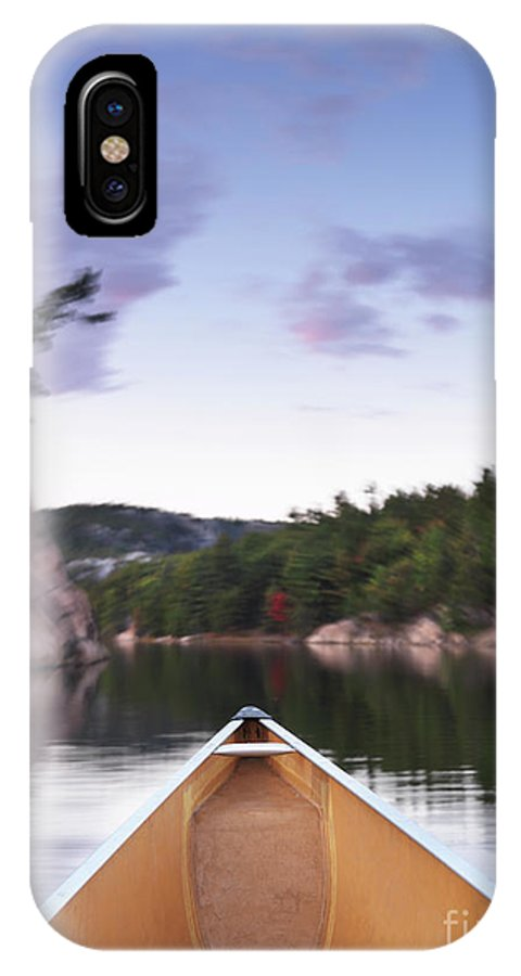 Canoe IPhone X / XS Case featuring the photograph Canoeing In Ontario Provincial Park by Oleksiy Maksymenko