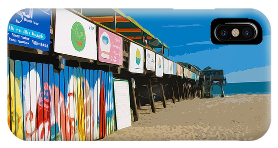 Florida IPhone X Case featuring the painting Cocoa Beach Pier Florida by Allan Hughes