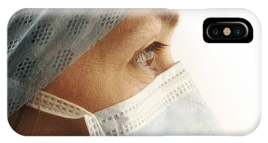 Human IPhone X Case featuring the photograph Female Surgeon by Tim Vernonlth Nhs Trust