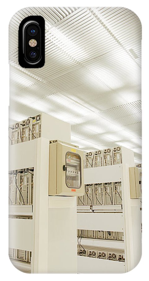 Supercomputer IPhone X / XS Case featuring the photograph Grid Computer Farm by David Parker