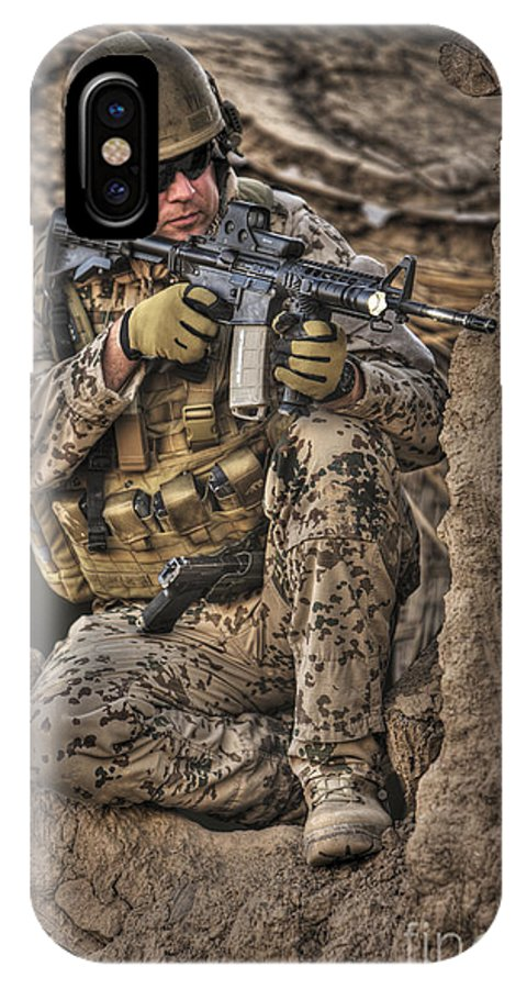 Aiming IPhone X Case featuring the photograph Hdr Image Of A German Army Soldier by Terry Moore