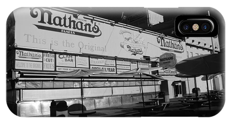 Brooklyn IPhone X Case featuring the photograph Nathan's Famous In Black And White by Rob Hans
