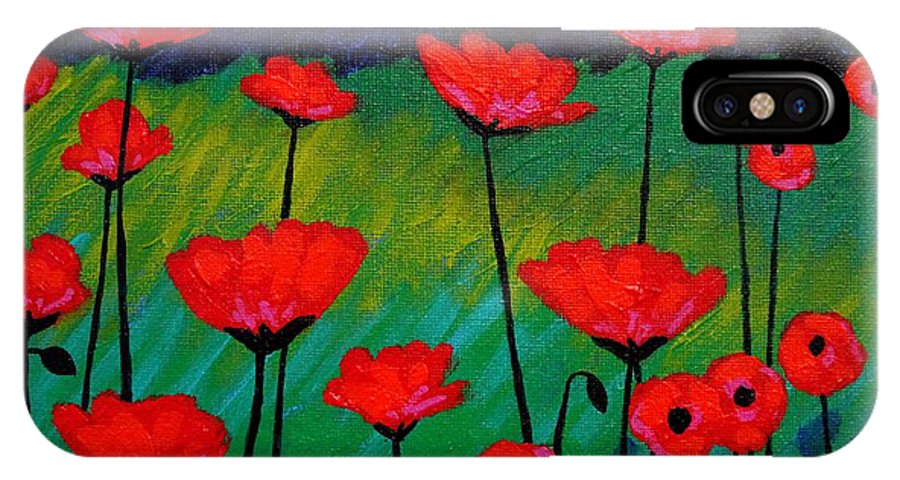 Poppies IPhone X Case featuring the painting Poppy Corner by John Nolan