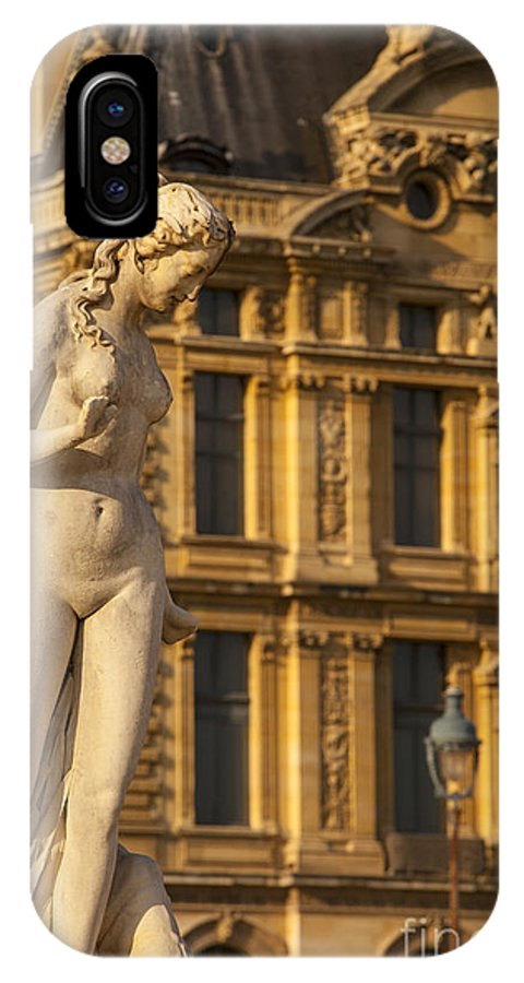 Architecture IPhone X Case featuring the photograph Statue Below Musee Du Louvre by Brian Jannsen