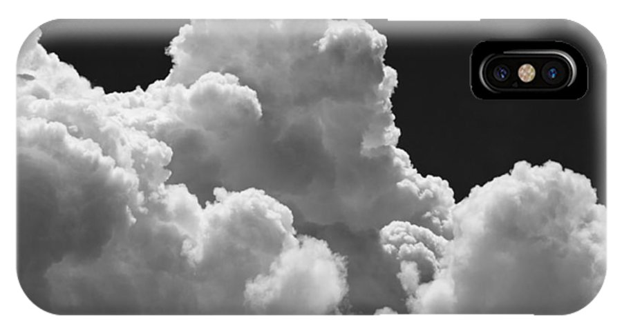 Black IPhone X Case featuring the photograph Black And White Sky With Building Storm Clouds Fine Art Print by Keith Webber Jr