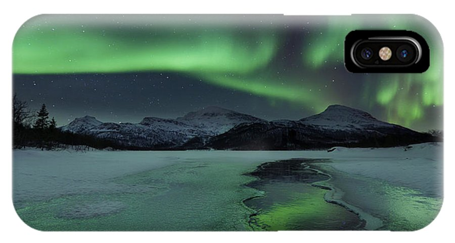 Green IPhone X Case featuring the photograph Reflected Aurora Over A Frozen Laksa by Arild Heitmann