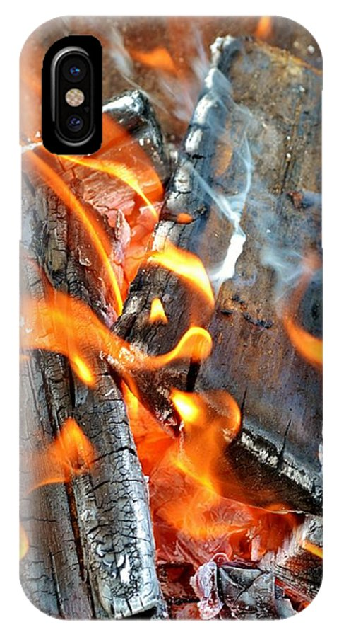Hot; Wood; Fire; Summer; Barbecue; Red; Orange; Steak; Hamburger; Garden; Food; Family; Friends; Warm; Winter; Cosy; Decorative; Background; Braai; IPhone X Case featuring the photograph Wood Fire by Werner Lehmann