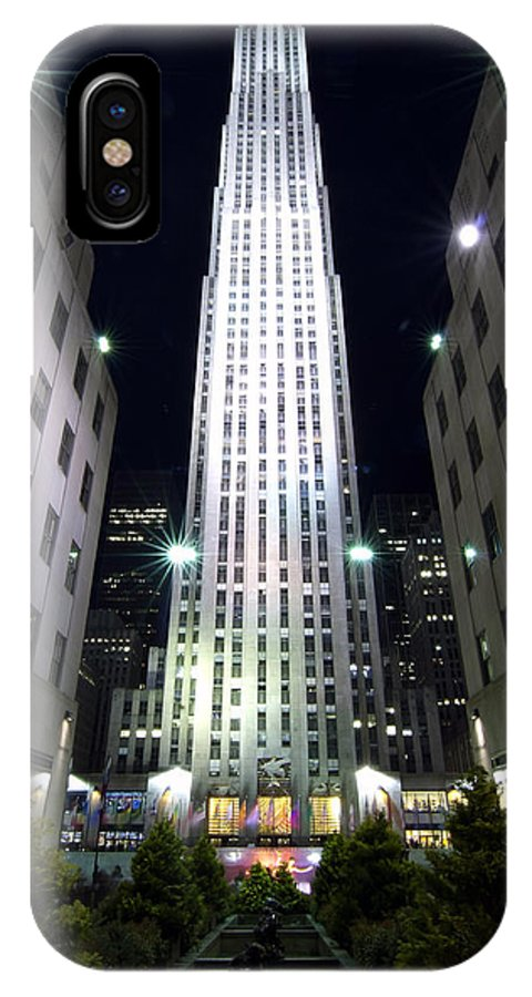 New York City IPhone X Case featuring the photograph 30 Rock by Michael Dorn