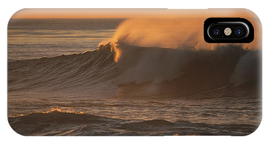 North America IPhone X / XS Case featuring the photograph Breaking Surf At Sunset In La Jolla by Tim Laman