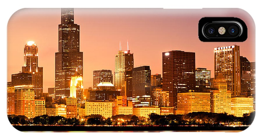 America IPhone X Case featuring the photograph Chicago Skyline At Night by Paul Velgos
