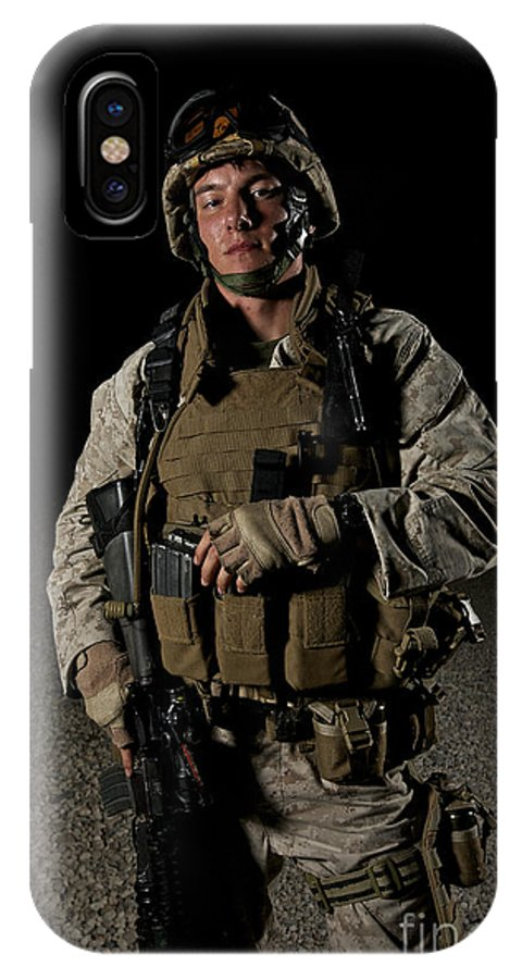 Helmet IPhone X Case featuring the photograph Portrait Of A U.s. Marine by Terry Moore