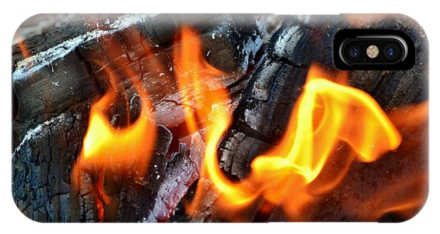 Hot; Wood; Fire; Summer; Barbecue; Red; Orange; Steak; Hamburger; Garden; Food; Family; Friends; Warm; Winter; Cosy; Decorative; Background; Braai; Flame; IPhone X Case featuring the photograph Wood Fire by Werner Lehmann