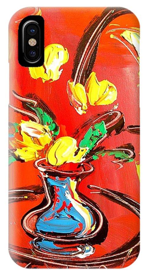 IPhone X Case featuring the mixed media Tulips by Mark Kazav
