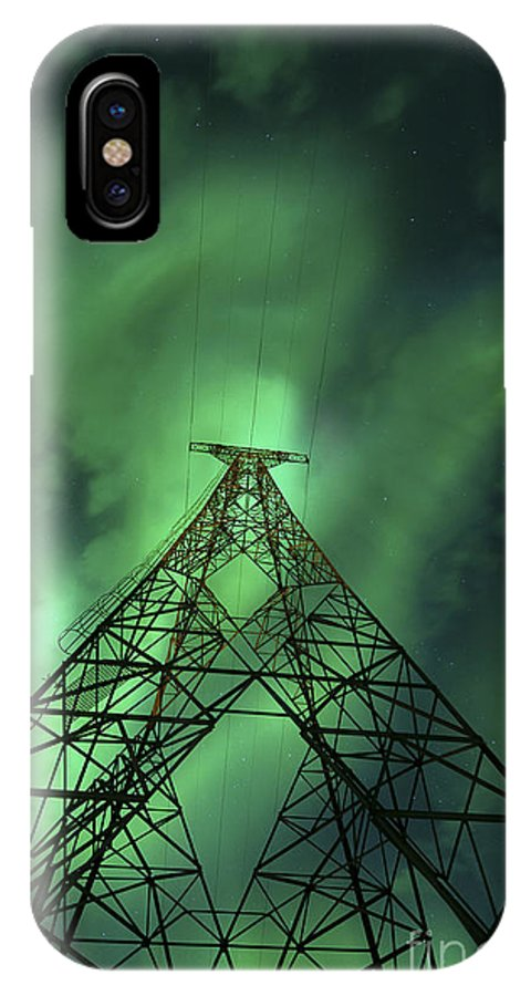 Green IPhone X Case featuring the photograph Powerlines And Aurora Borealis by Arild Heitmann