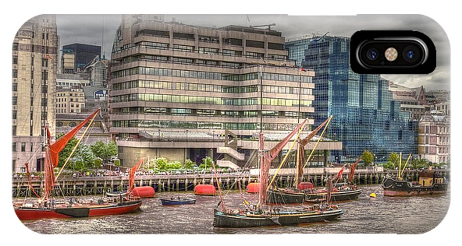 Thames IPhone X Case featuring the photograph Thames Barges Tower Bridge 2012 by David French
