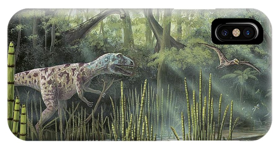 Megalosaur IPhone X / XS Case featuring the photograph Jurassic Life, Artwork by Richard Bizley