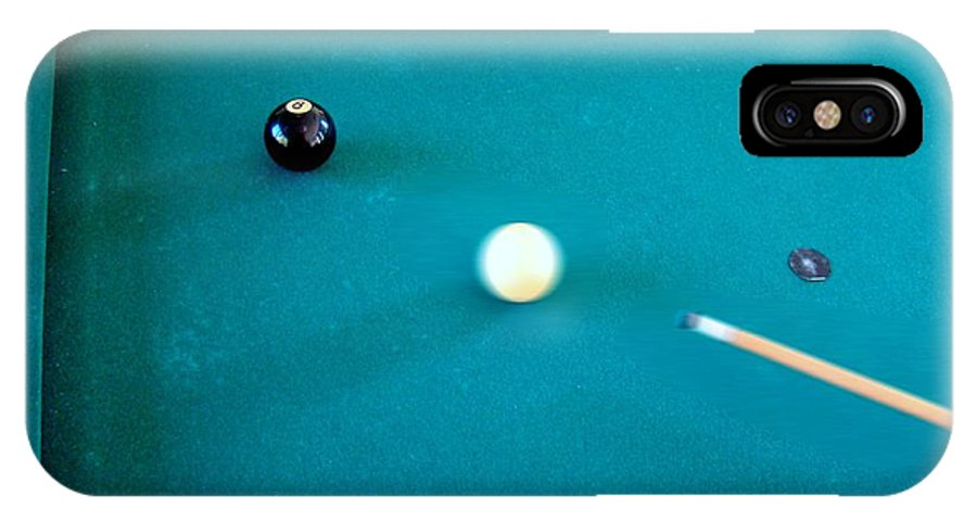 Pool IPhone X / XS Case featuring the photograph 8 Ball In Side Pocket by Nick Kloepping