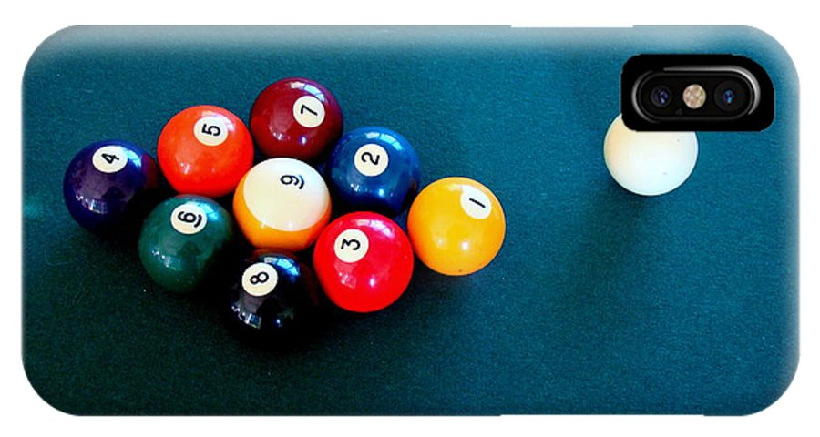 Pool IPhone X Case featuring the photograph 9 Ball by Nick Kloepping