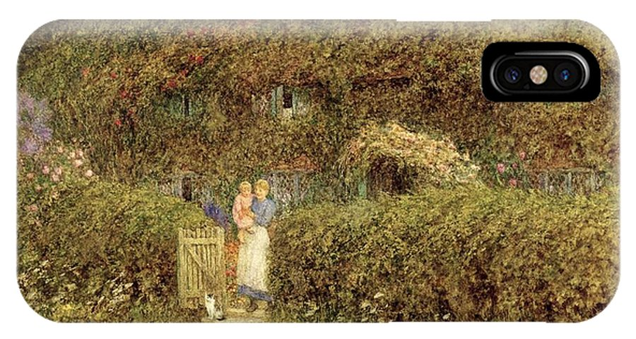 Mother And Child; Gate; Rural Scene; Country; Countryside; Home; Path; Garden; Wildflowers; Roses; Picturesque; Idyllic; Daughter; Cat; Vines; House; Female IPhone X Case featuring the painting A Cottage At Freshwater Isle Of Wight by Helen Allingham