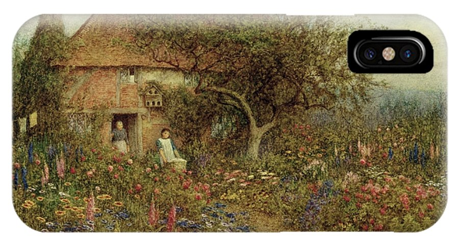 A Cottage Near Brook IPhone X Case featuring the painting A Cottage Near Brook Witley Surrey by Helen Allingham