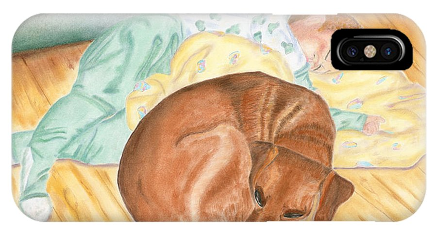 Baby IPhone X Case featuring the painting A Dog And Her Boy by Arlene Crafton
