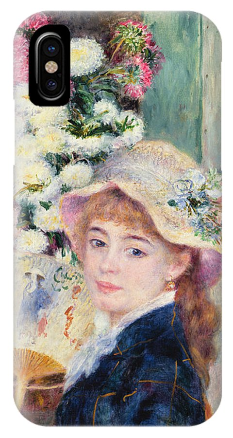 A French Girl With A Fan IPhone X Case featuring the painting A French Girl With A Fan by Pierre Auguste Renoir