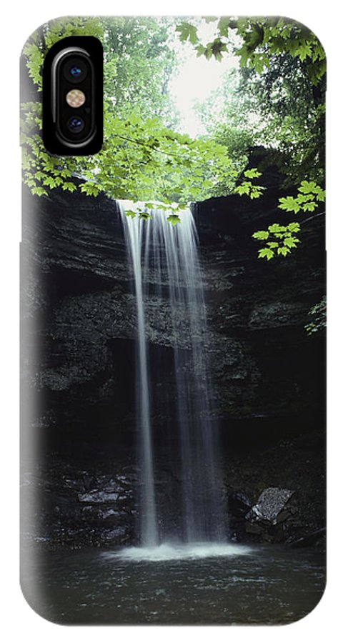 United States Of America IPhone X / XS Case featuring the photograph A Gentle Woodland Waterfall With Maple by Bill Curtsinger