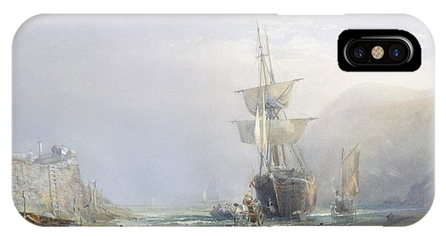 Hazy; Morning; Coast; Coastal; Devon; Shore; Beach; Ship; Ships; Shipping; Boat; Boats; Sail; Sailing; Wall; Barrel; Horse; Horses; Cart; Wagon; Dawn; Mist; Misty; Atmospheric; Low Tide; Low-tide IPhone X Case featuring the painting A Hazy Morning On The Coast Of Devon by Samuel Phillips Jackson