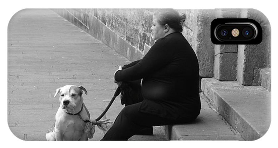 Barcelona IPhone X Case featuring the photograph A Lady With Her Dog In Barcelona by Ana Maria Edulescu
