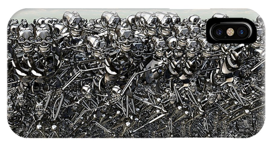 No People IPhone X Case featuring the digital art A Large Gathering Of Robots by Mark Stevenson