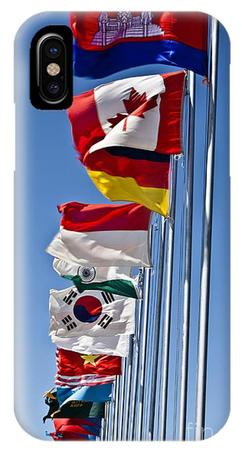 Culture IPhone X Case featuring the photograph A Line Of Flags Represent The Countries by Stocktrek Images