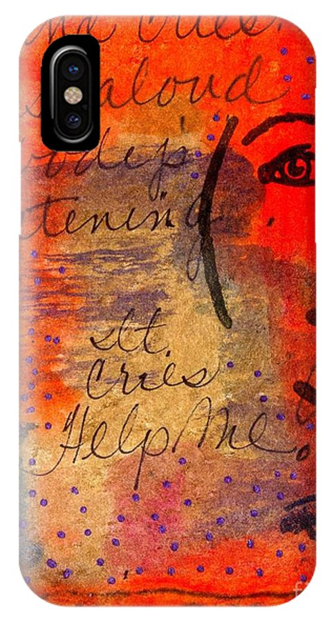Woman IPhone X Case featuring the mixed media A Mind Cries by Angela L Walker