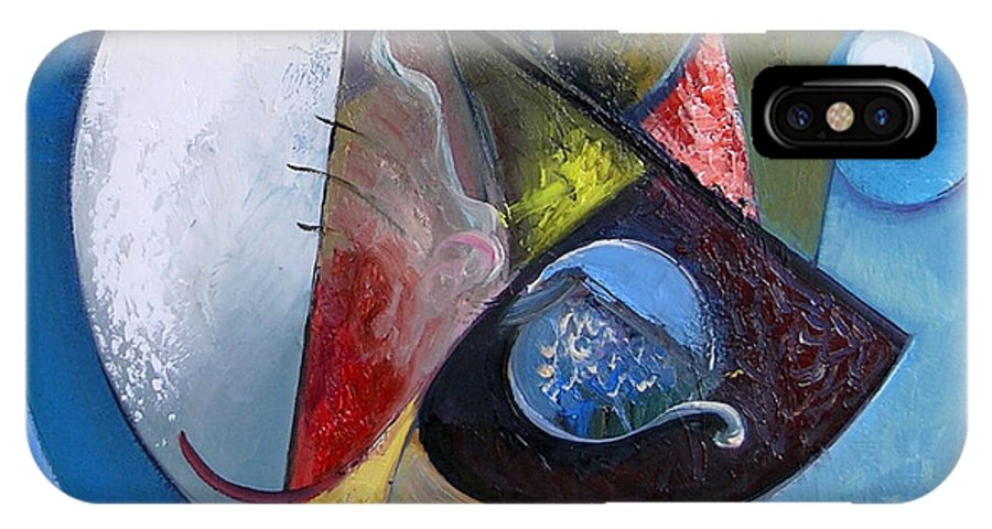 Abstract IPhone X Case featuring the painting A Moon Story 2 by Ognian Kuzmanov