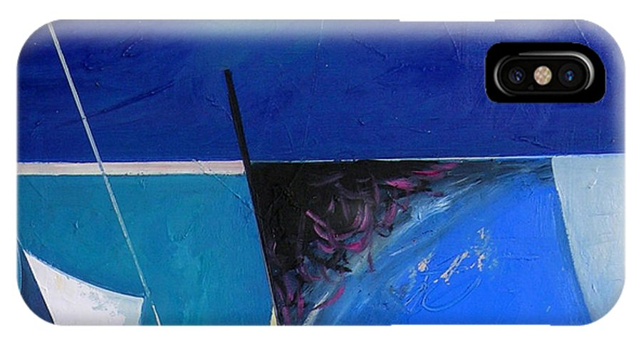 Abstract IPhone X Case featuring the painting A Moon Story by Ognian Kuzmanov