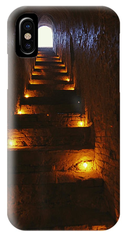 Asia IPhone X / XS Case featuring the photograph A Narrow Staircase Lit With Candles by Richard Nowitz