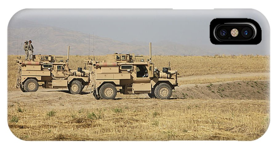 Arid Climate IPhone X Case featuring the photograph A Pair Of U.s. Army Cougar Mrap by Terry Moore
