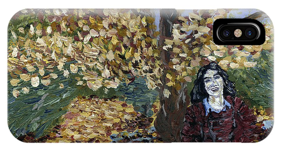 Portrait IPhone X Case featuring the painting A Portrait Of The Artist's Mother In Autumn by Denny Morreale