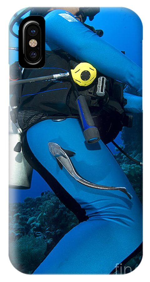 Osteichthyes IPhone X Case featuring the photograph A Remora Attached To A Diver, Kimbe by Steve Jones