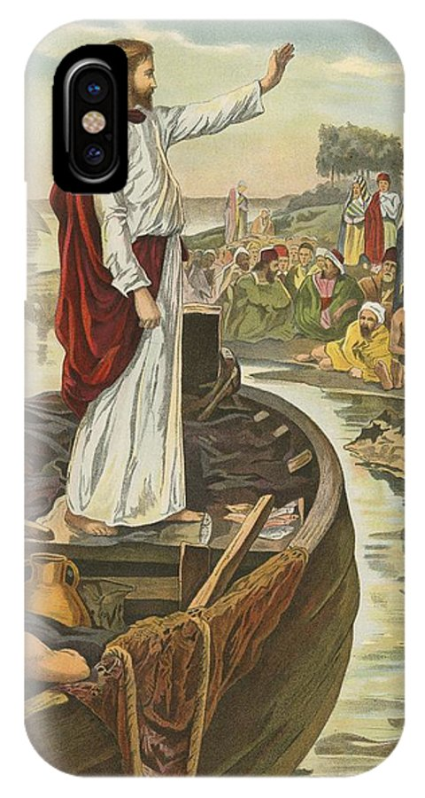 Bible; Children's; Jesus Christ; Sea; Sermon IPhone X Case featuring the painting A Sermon by English School
