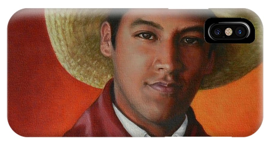 Portrait IPhone X Case featuring the painting A Smile From The Andes, Peru Impression by Ningning Li