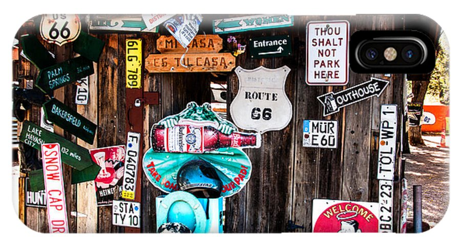 Signs IPhone X Case featuring the photograph A Stop Along Route 66 by Diane Wood