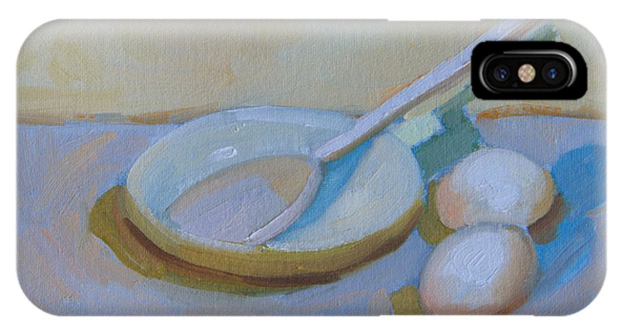 Wooden Spoon IPhone X Case featuring the painting A Study In White by Diane McClary